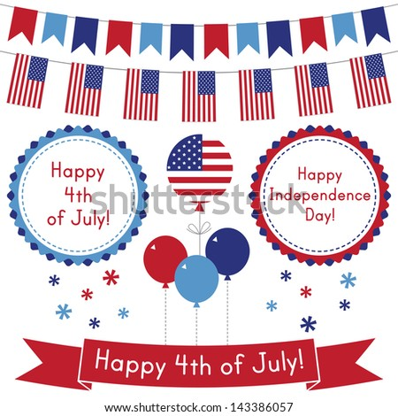4th of July vector design elements set - stock vector
