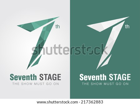 7th Stage icon symbol from an alphabet letter number 7. Creative ...