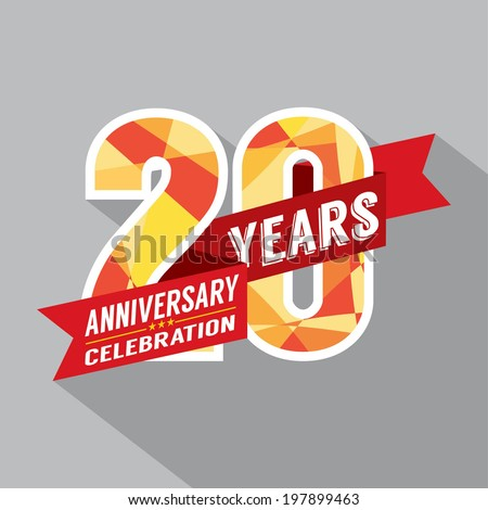 20th Years Anniversary Celebration Design - stock vector