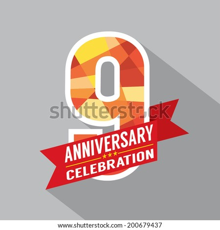 9th Years Anniversary Celebration Design - stock vector