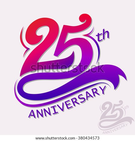 25th Years Anniversary Design. number Template celebration sign. decorative advertisement design, Vector congratulation badge art picture - stock vector