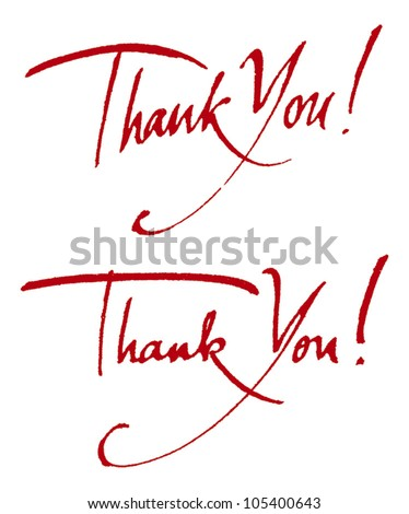 """Thank you!"" original handwritten calligraphy for your logo, website or advertisement - stock vector"