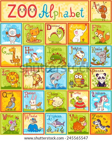 The complete children's english animal alphabet spelt out with different fun cartoon animals. ABC. Zoo alphabet design in a colorful style. - stock vector