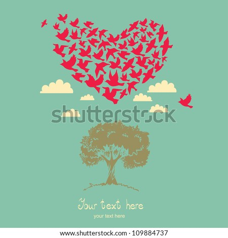 The heart of the birds. Love colorful card. Can be used for postcard, valentine card, wedding invitation - stock vector
