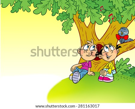 The illustration shows a girl and a boy on summer vacations. Children sit under a tree on the nature and listen to the  sings nightingale. Illustration  in cartoon style, there is a place for text - stock vector