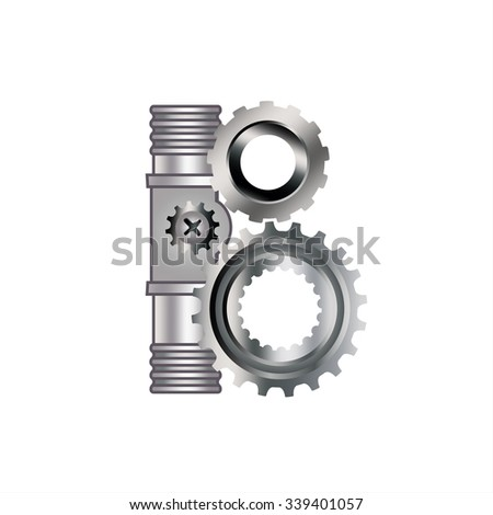 """The letter """"B"""" with gears, spare parts, bolt, screw, circuit, chain, range. Mechanical Construction. Metal and Gradient. - stock vector"""