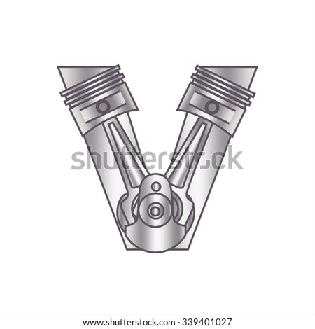 """The letter """"V"""" with gears, spare parts, bolt, screw, circuit, chain, range. Mechanical Construction. Metal and Gradient. - stock vector"""