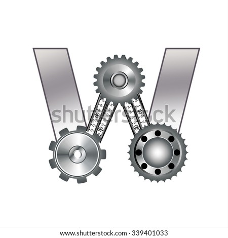 """The letter """"W"""" with gears, spare parts, bolt, screw, range, ruler, circular saw. Mechanical Construction. Metal and Gradient. - stock vector"""