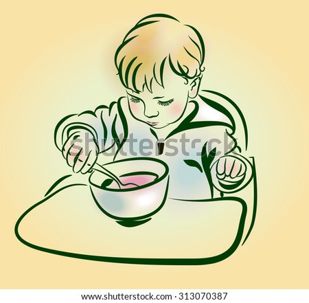 The little boy eats porridge. The baby with a spoon in hand eats. Serious  kid with blonde  hair and round cheeks eating from  plate with spoon. Sketch, hand drawn - stock vector