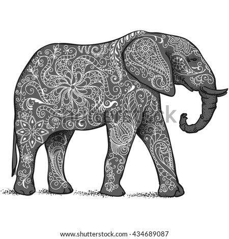 The silhouette of the elephant collected from hand drawn elements of a flower ornament. - stock vector