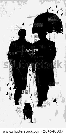 "The symbolic image of gentlemen who walk in the rain On the image there is a phrase in Chinese. Translation - ""The Chinese quality"" - stock vector"