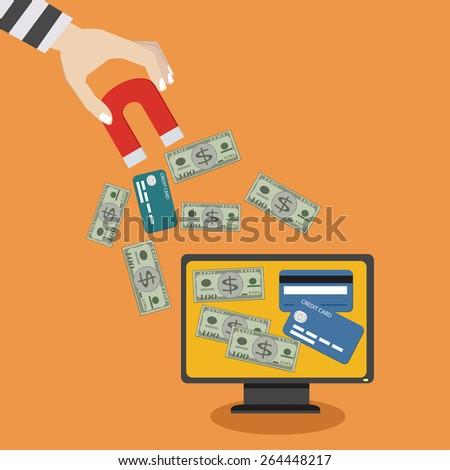Thief Money / Hacking money / flat design  /Vector  - stock vector
