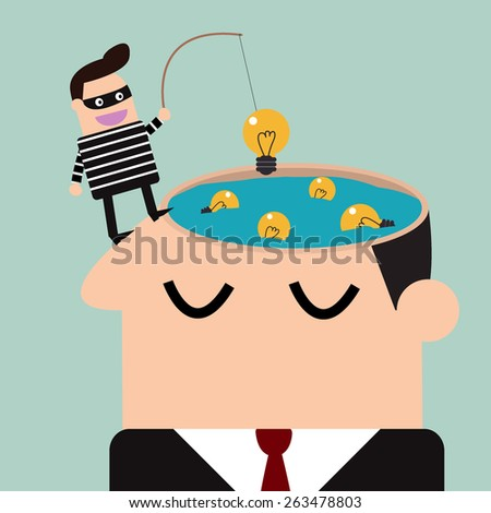 thief stealing bulb from a head .Piracy - stock vector