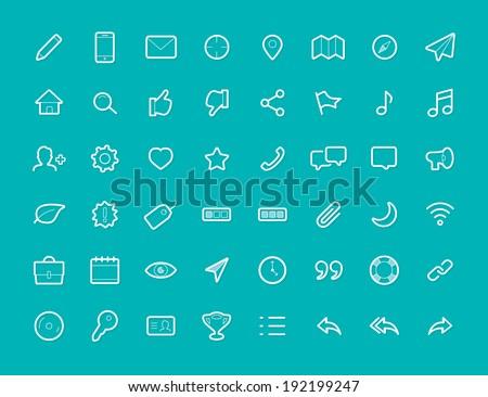 48 Thin Icons Set v1 - stock vector