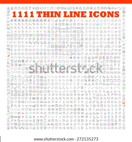 1111 thin line icons exclusive XXL icons set contains: universal interface, navigation, people, web store, finance themes, and many other. Ideal set for infographics - stock vector