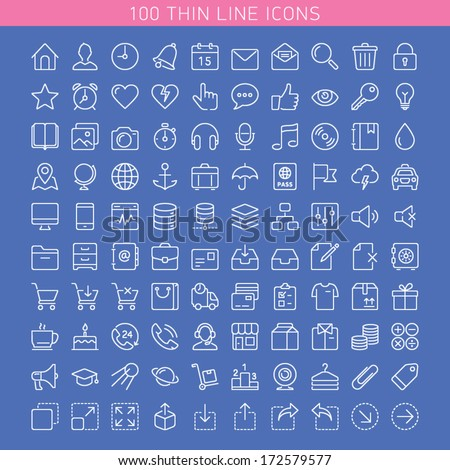 100 thin line icons for Web and Mobile. Dark version.  - stock vector