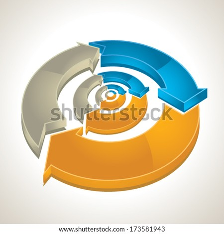 Three-dimensional arrows color wheel  - stock vector