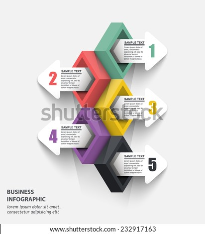 5 three-dimensional color data blocks with arrows, vector element infographics - stock vector