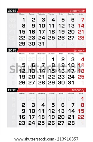 2015 Three-Month Calendar January - stock vector