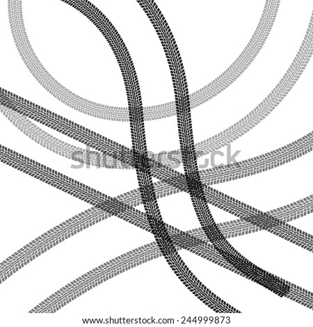 tire prints, vector illustration - stock vector