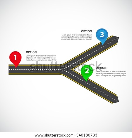 1 to 2 horizontal diverging roads with arrows, bright map pointers and text fields - Vector infographics - stock vector