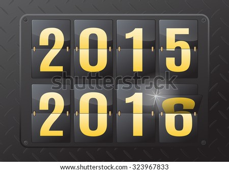 2015 to 2016 New Year Flip Calendar. This ultra dynamic 3D illustration of a steel flip countdown calendar is a great way to inform of the impending New Year.  - stock vector