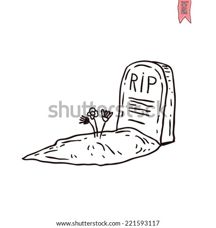 Tombstone halloween icon. vector illustration. - stock vector