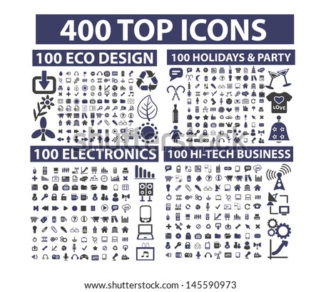 400 top icons set: business, website, media, music, travel, nature, holidays, party, technology, office, documents, vector - stock vector