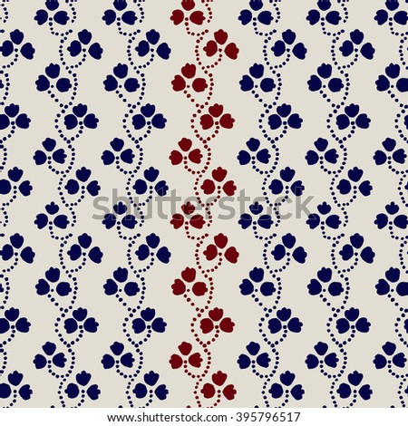 Traditional block printed ornament. Seamless floral pattern, handmade Russian folk motif with clover in navy blue, red and ecru. Textile print. - stock vector