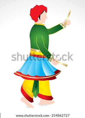 Traditional Indian man playing dandiya vector illustration  - stock vector
