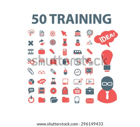 50 training, learning, education icons, signs, illustrations set, vector - stock vector