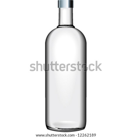 transparent glass bottle - stock vector
