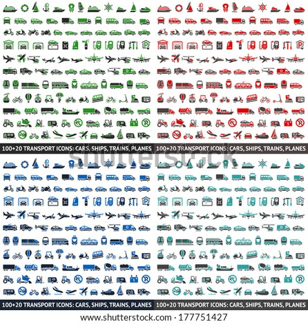 480 Transport icons: Cars, Ships, Trains, Planes, vector illustrations, set silhouettes isolated on white background. - stock vector