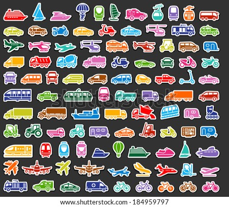 104 Transport icons set colored stickers, vector illustrations - stock vector