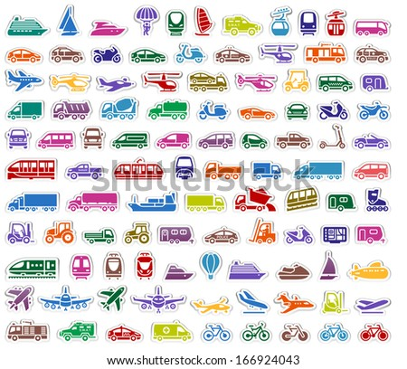 104 Transport icons set stickers, vector illustrations - stock vector