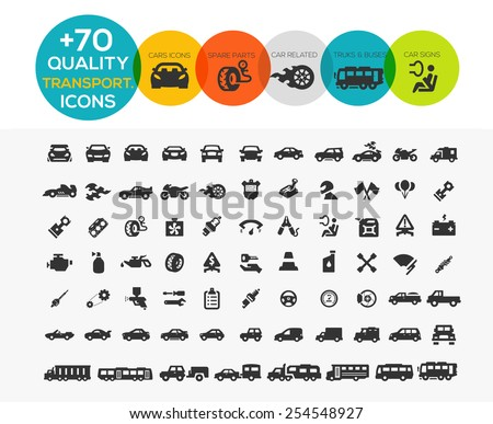 74 Transportation Icons extreme Series - stock vector