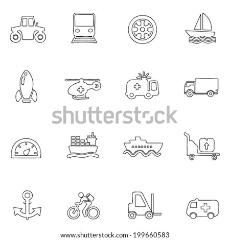 Transportation icons thin line drawing by hand Set 6  - stock vector