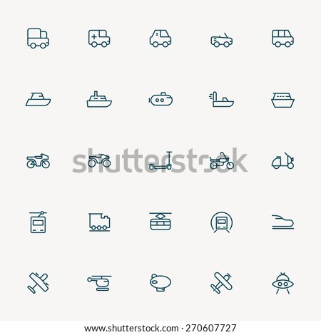 25 transportation minimal line icons - stock vector