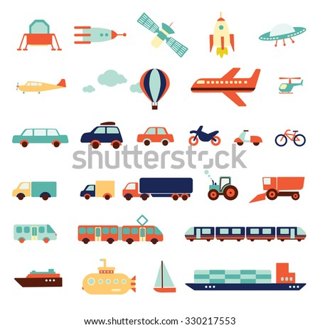 transportation set, icons collection, travel set of  cars,  air-balloon, ships, bike, helicopter, airplane, ufo, train, bus, submarine, motorbike, moped, satellite, illustration elements, vector - stock vector