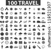100 travel icons set, vector - stock vector