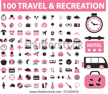 100 travel & recreation icons set, vector illustration - stock vector