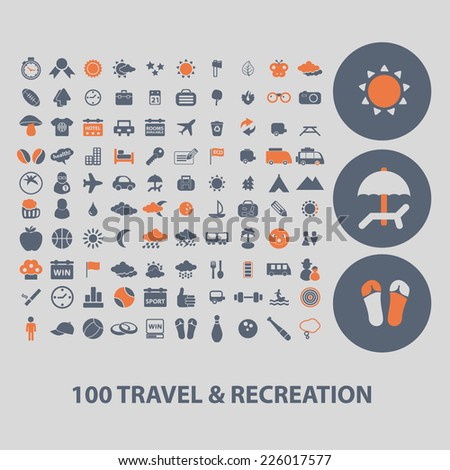 100 travel, recreation icons, signs, illustrations set, vector - stock vector