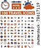 100  travel signs, icons, vector - stock vector