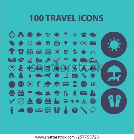 100 travel, tourism, vacation, recreation isolated icons, signs, illustrations concept design set on background for website, internet, template, application, advertising. - stock vector