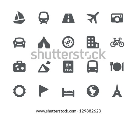 20 Traveling and transport simple icons - stock vector