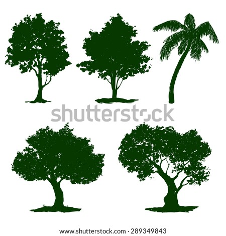 tree set vector illustration  hand drawn  painted - stock vector
