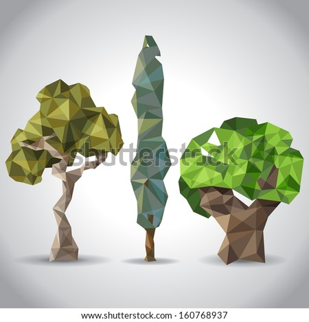 3 trees in origami style - stock vector