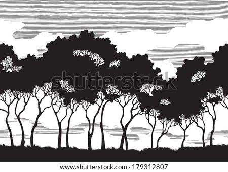 Trees silhouettes. Black trees silhouettes on abstract background with seamless properties. Use this vector and You may do endless length landscape - stock vector