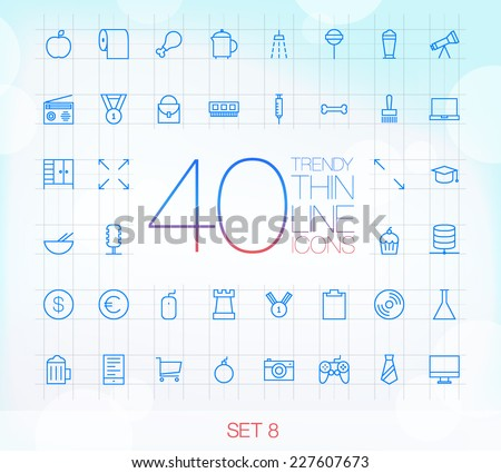 40 Trendy Thin Icons for web and mobile Set 8 - stock vector
