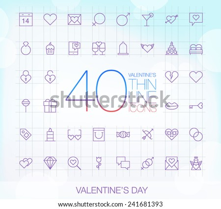 40 Trendy Thin Icons Valentine's Day Set  - stock vector